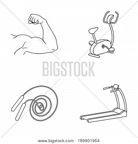 Biceps, exercise bike, skipping rope, treadmill, Fitness set collection icons in outline style vector symbol stock illustration .