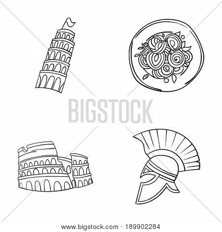 Pisa tower, pasta, coliseum, Legionnaire helmet.Italy country set collection icons in outline style vector symbol stock illustration .