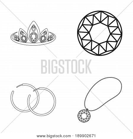 Tiara, gold chain, earrings, pendant with a stone. Jewelery and accessories set collection icons in outline style vector symbol stock illustration .