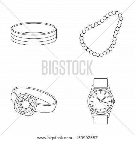Engagement ring, beads from pearls, men s ring, wristwatch gold. Jewelery and accessories set collection icons in outline style vector symbol stock illustration .