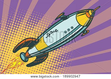 Retro space ship flies up. Pop art vector illustration