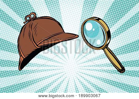 Detective hat and magnifying glass. Pop art retro vector illustration