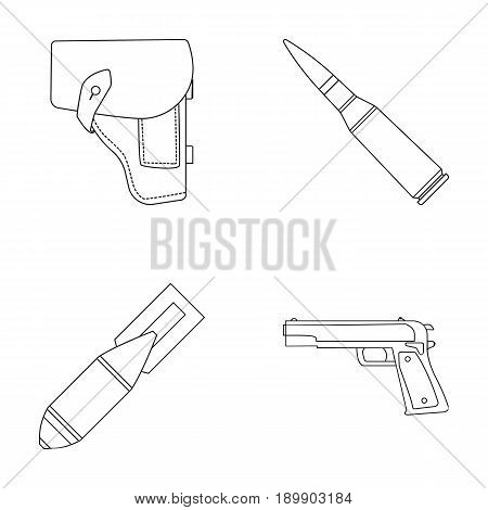 Holster, cartridge, air bomb, pistol. Military and army set collection icons in outline style vector symbol stock illustration .