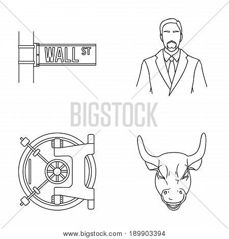 Wall Street, a businessman, a bank vault, a gold charging bull. Money and finance set collection icons in outline style vector symbol stock illustration .