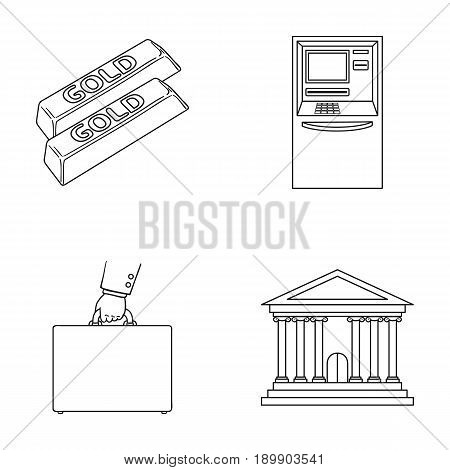 Gold bars, ATM, bank building, a case with money. Money and finance set collection icons in outline style vector symbol stock illustration .