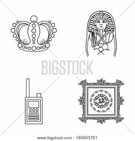 Crown, sarcophagus of the pharaoh, walkie-talkie, picture in the frame.Museum set collection icons in outline style vector symbol stock illustration .