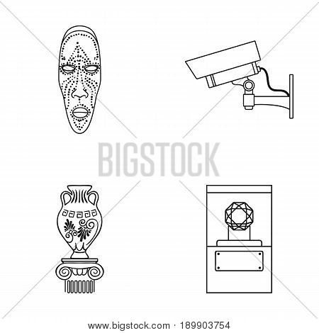 African mask, video surveillance, vase, diamond under the dome. Museum set collection icons in outline style vector symbol stock illustration .