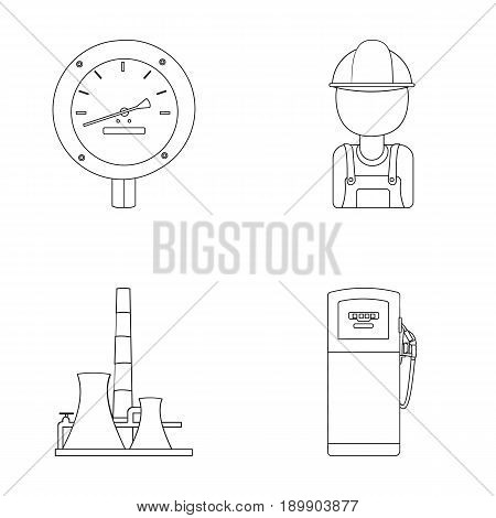 Manometer, worker oilman, fuel refueling, oil factory. Oil industry set collection icons in outline style vector symbol stock illustration .