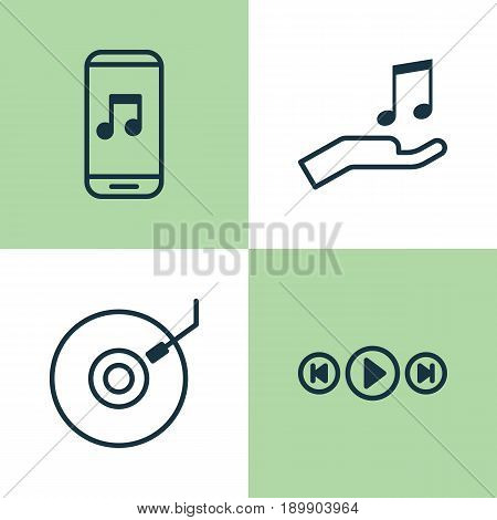 Music Icons Set. Collection Of Audio Mobile, Audio Buttons, Note Donate And Other Elements. Also Includes Symbols Such As Sell, Music, App.