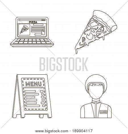 Reception of orders, a piece of pizza, a menu in the pizzeria, a courier for delivery. Pizza and pizzeria set collection icons in outline style vector symbol stock illustration .