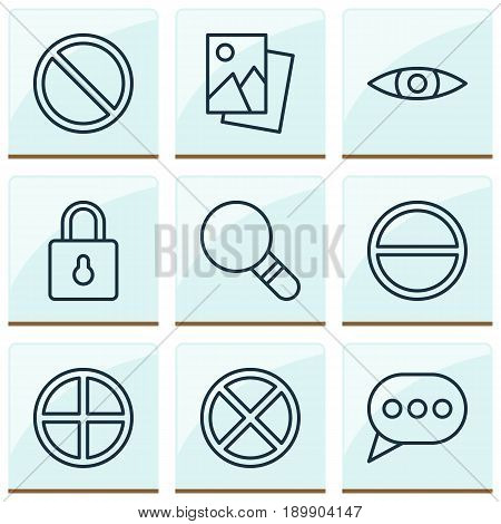 Icons Set. Collection Of Glance, Obstacle, Positive And Other Elements. Also Includes Symbols Such As Browse, Photo, Message.