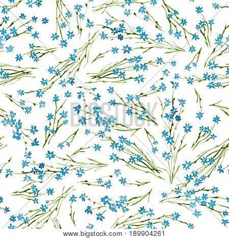 Calico watercolor pattern. Charming seamless cute small flowers for fabric design. Calico pattern in country stile. Trendy handpainted millefleurs.