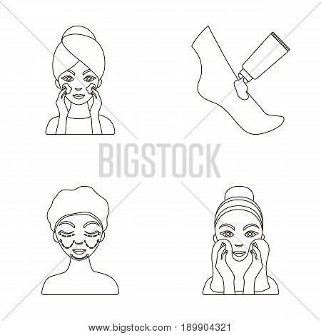 Face care, plastic surgery, face wiping, moisturizing the feet. Skin Care set collection icons in outline style vector symbol stock illustration .