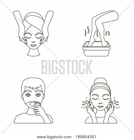 Face massage, foot bath, shaving, face washing. Skin Care set collection icons in outline style vector symbol stock illustration .