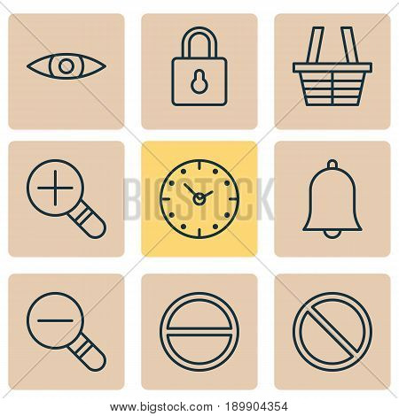 Internet Icons Set. Collection Of Increase Loup, Alert, Glance And Other Elements. Also Includes Symbols Such As Lock, Glance, Refuse.