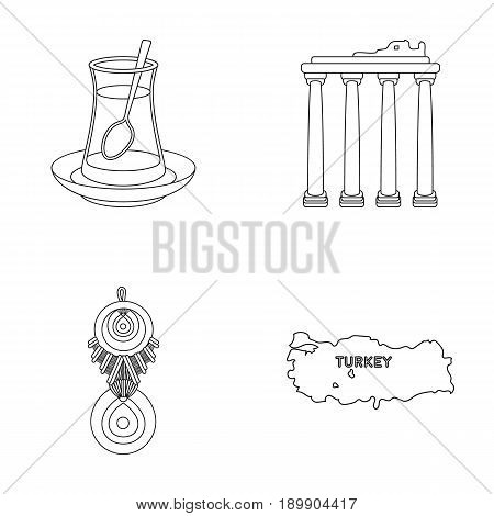 Turkish tea, amulet, ruins of antiquity, map of the territory. Turkey set collection icons in outline style vector symbol stock illustration .