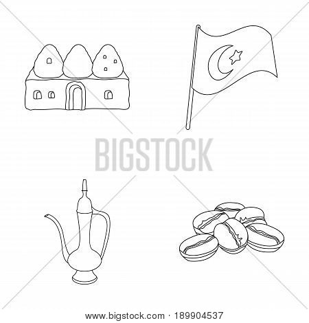House hive, national flag, coffee pot copper, grains coffee.Turkey set collection icons in outline style vector symbol stock illustration .