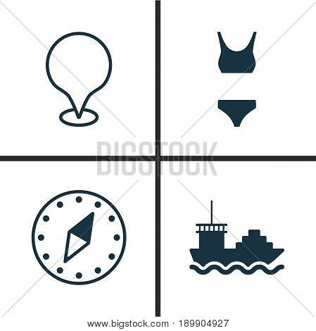 Travel Icons Set. Collection Of Cardinal Direction, Bathing Costume, Cargo Boat And Other Elements. Also Includes Symbols Such As Tanker, Map, Marker.