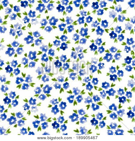 Calico Watercolor Pattern. Marvelous Seamless Cute Small Flowers For Fabric Design. Calico Pattern I