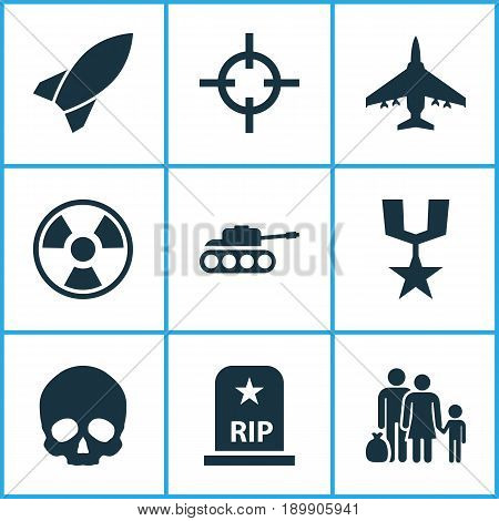 Army Icons Set. Collection Of Cranium, Rip, Dangerous And Other Elements. Also Includes Symbols Such As Gong, Target, Shot.
