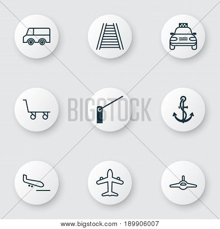 Shipping Icons Set. Collection Of Railroad, Roadblock, Anchor And Other Elements. Also Includes Symbols Such As Railroad, Jet, Taxi.