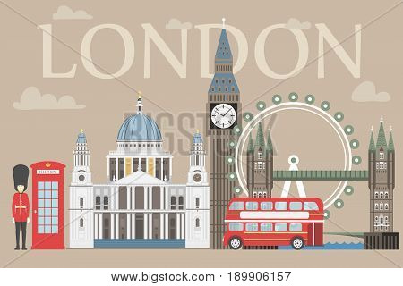 London travel info graphic. Vector illustration, Big Ben, eye, tower bridge and double decker bus, Police box, St Pauls Cathedral, queens guards, telephone