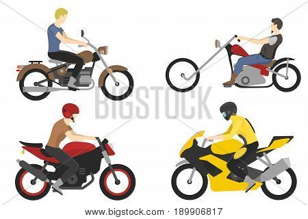 Two motorcyclist with accessories set. helmets, backpack and motor oil