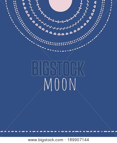 Moon on the sky doodle circles , vector illustration background