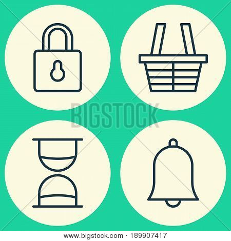 Internet Icons Set. Collection Of Alert, Safeguard, Shop And Other Elements. Also Includes Symbols Such As Hourglass, Safeguard, Basket.