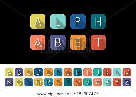 Flat icons alphabet - bright colorful flat design.