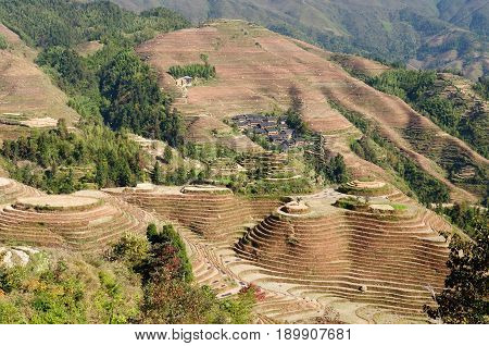 Ancient beautiful rice terraces of Longsheng near Guilin Guanxi province China