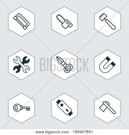 Equipment Icons Set. Collection Of Clippers, Alkaline, Attraction And Other Elements. Also Includes Symbols Such As Spud, Alkaline, Chainsaw.