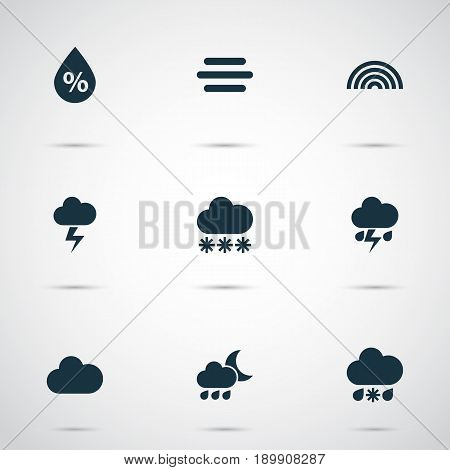 Air Icons Set. Collection Of Lightning, Haze, Snowy And Other Elements. Also Includes Symbols Such As Humidity, Sleet, Rain.