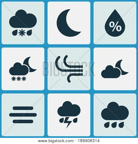 Weather Icons Set. Collection Of Flash, Night, Breeze And Other Elements. Also Includes Symbols Such As Haze, Light, Flash.