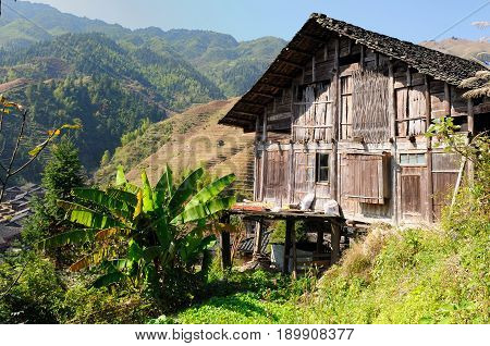 Wooden houses in the Longsheng village near Guilin Guanxi province China