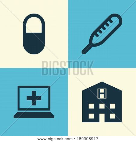 Antibiotic Icons Set. Collection Of Database, Ache, Pellet And Other Elements. Also Includes Symbols Such As Pellet, Medical, Retreat.