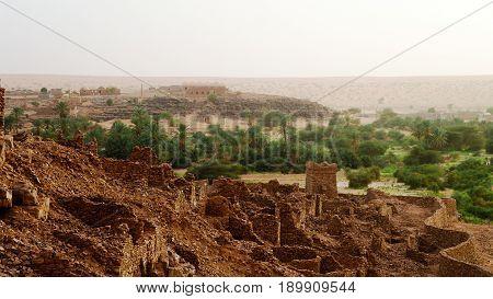 Ruins of Ouadane fortress in Sahara Mauritania
