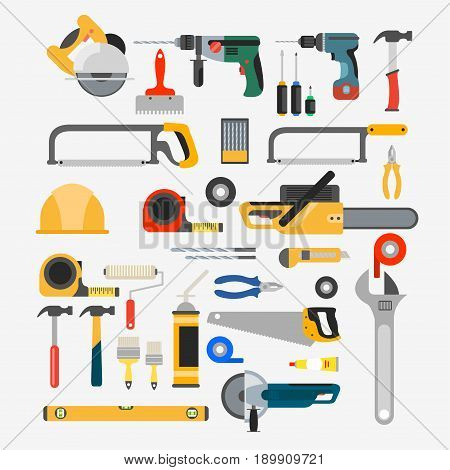 vector set of tools for repair and construction. Tools like hammer, axe, ruler, hatchet home repair.