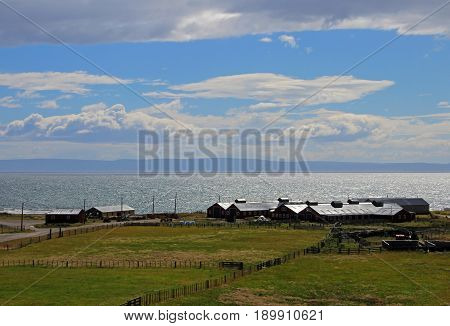 Farm near Cameron village centre of the municipality of Temaukel, near Porvenir, Tierra Del Fuego, Patagonia, Chile