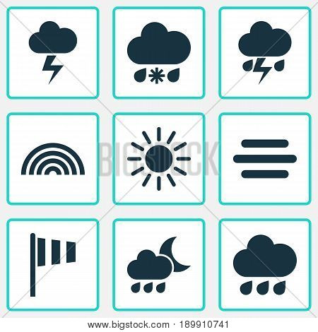 Weather Icons Set. Collection Of Rainy, Colors, Sun And Other Elements. Also Includes Symbols Such As Cloud, Flag, Weather.