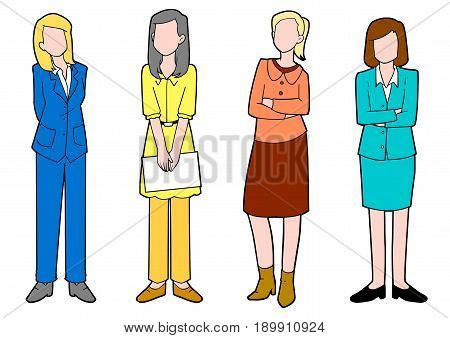 Set of diverse businesswomen isolated on white background
