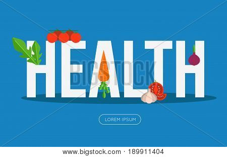 Health banner with vegetables. Vector illustration for vegetarian blog or food website.