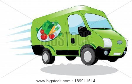 a vector cartoon representing a funny and fast green fresh food delivery van - fresh vegetables and fruit express delivery concept