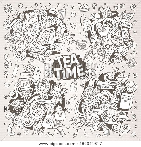 Tea time doodles hand drawn sketchy vector symbols and objects