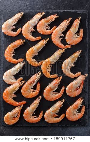 Good Selection Of Raw Shrimps For Dinner On Stone Plate. Food Background.