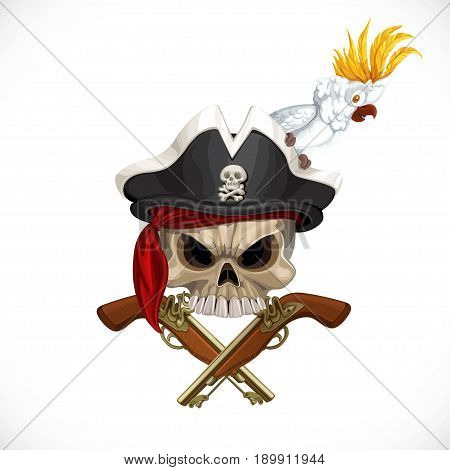 Jolly Roger In Pirat Hat With White Parrot And With Pistols Isolated On A White Background
