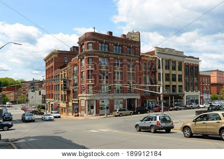 BANGOR, ME, USA - MAY 20, 2016: Historic Blocks at State Street and Harlow Street intersection in downtown Bangor, Maine, USA.