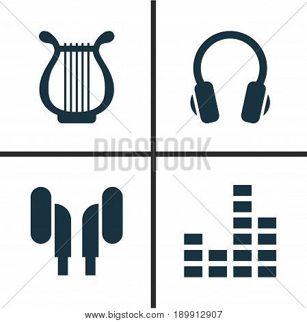 Music Icons Set. Collection Of Earmuff, Earphone, Equalizer And Other Elements. Also Includes Symbols Such As Controlling, Lyre, Instrument.