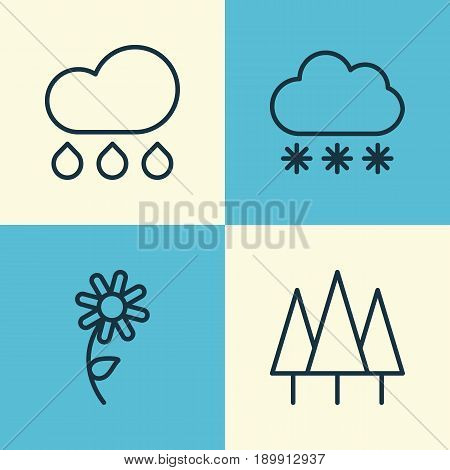 Nature Icons Set. Collection Of Forest, Snowstorm, Sunflower And Other Elements. Also Includes Symbols Such As Raindrop, Rain, Sunflower.