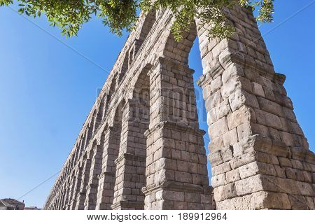Partial view of the Roman aqueduct located in the city of Segovia Unesco World Heritage Site Spain